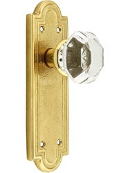 Emtek Belmont Plate Set with Old Crystal Door Knob -Dummy Polished Brass