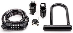 Real People Bike Lock Kit Bundle with 4-Feet Combination Cable Lock, Travel Size U-Lock with Keys and Bike Mounts