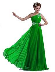 DLFASHION One-shoulder Floor Length Beaded Chiffon Prom Dress M-8 Green