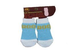 Dog Socks With Grips: Blue/white - Medium/large