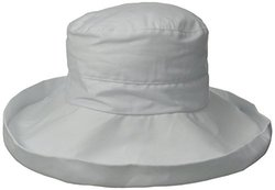 San Diego Hat Company Women's Linen Fabric with Kettle Brim, White, One Size