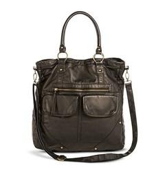 Mossimo Women's Distressed Solid Triple Handle Tote Handbag - Black