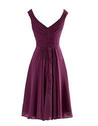 Yougao Women's V Neck Knee Length Chiffon Dresses - Pink - Size: 12