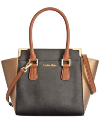 Calvin Klein Women's Corner Saffiano Crossbody Handbag - Black