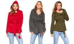 Women's Hooded Belted Fleece Jacket: Heather Grey/large