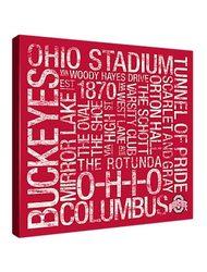 "Ohio State Buckeyes 18"" x 18"" Canvas -  Subway Art Red & White"