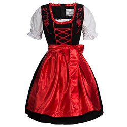 Gaudi-leathers Women's Set-3 Dirndl Pieces Embroidery 44 Red/Black