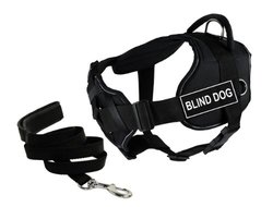 "Dean & Tyler's DT Fun Chest Support ""BLIND DOG"" Harness with Reflective Trim, X-Large, and 6 ft Padded Puppy Leash."