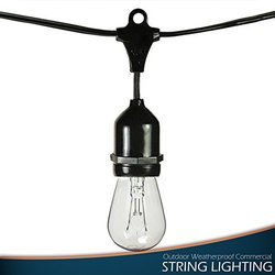 Outdoor Party Lights, Black Rubber Corded String, 48 Feet Long With 16 Lights, Commercial Grade, Incandescent Bulbs
