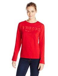Amazon Gear Women's Long Sleeve T-Shirt w/ Tonal Logo - Red - Sz: Small