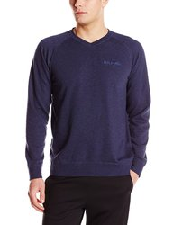 Men's Long Sleeve V-Neck French Terry Pullover - Navy Heather - X-Large