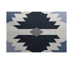 E By Design 5' x 7' Mesa Geometric Print Outdoor Rug - Navy Blue