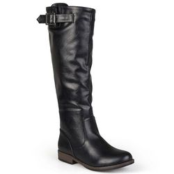Women's Buckle Knee-High Riding Boots - Black - Size: 8.5