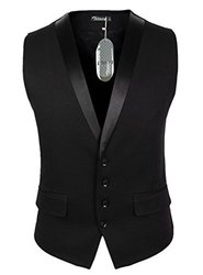 Zicac Men's Gentleman Top Design Casual Waistcoat - Black - Size: 3XL
