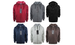 Lee Hanton Men's Solid Sherpa Lined Hoodies - Red - Size: Large
