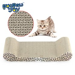 PETPAWJOY #1 PREMIUM CARBOARD CAT SCRATCHING BOARD with Free Catnip Great Leopard Style Cat Scratching Pad Extremely Durable Kitten Scratching Board ¨C Satisfies cats¡¯ Natural Scratching Instincts