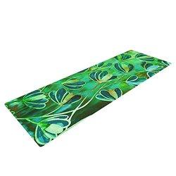 """KESS InHouse Ebi Emporium Effloresence - Blue Green Exercise Yoga Mat, Teal Green, 72"""" by 24"""""""