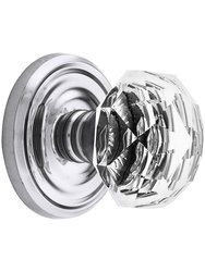 Emtek Classic Rosette Set with Diamond Crystal Knob -Passage Polishd Chrme