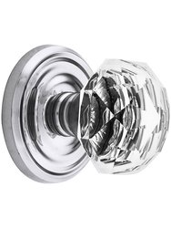 Emtek Classic Rosette Set with Diamond Crystal Knob -Privcy Polishd Chrome