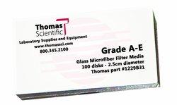 Thomas Borosilicate Glass Microfiber Filter Pack of 100 - 4.25cm Diameter