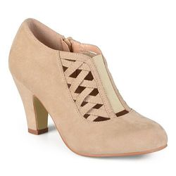 Journee Collection Women's Pipe' Round Toe High Heel Bootie - Taupe - 7