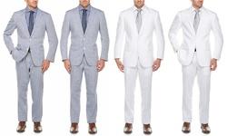 Linen Suits (2-piece): Light Blue/52rx46w