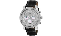 Joshua & Sons Men's Js-28 Quartz Chronograph Diamond Leather Watch - Black