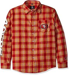 KLEW NFL San Francisco 49ers Wordmark Basic Flannel Shirt - Red - Size:XXL