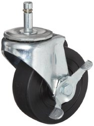 E.R. Wagner Stem Caster Swivel with Pinch Brake Hard Rubber Wheel