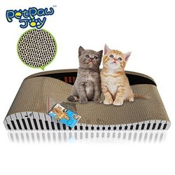 PETPAWJOY #1 PREMIUM CARBOARD CAT SCRATCHING BOARD with Free Catnip Great Piano Style Cat Scratching Pad Extremely Durable Kitten Scratching Board ¨C Satisfies cats' Natural Scratching Instincts