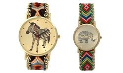 Women's Handmade Bohemian Watches: Elephant-dark Multi