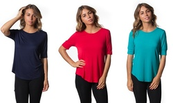 Women's 3-Pack Crewneck Tunics - Navy/Red/Wave - Size: Small