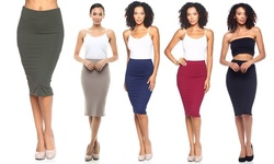 Knee Length Pencil Skirts (5-pack): Black-navy-burgundy-olive-taupe/small