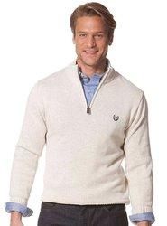 Chaps Elbow-Patch Mockneck Sweater - Chalk - Size: XL