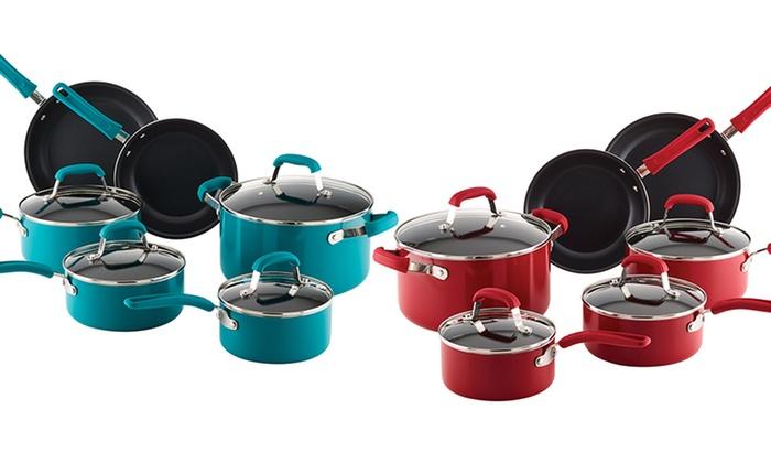 Guy Fieri 10 Piece Nonstick Aluminum Cookware Set Turquoise Size