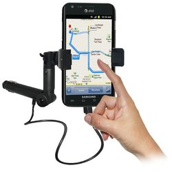 Amzer AMZ93577 Lighter Socket Phone Car Mount with Charging and Case System for Samsung Galaxy S II Skyrocket SGH-I727 - Retail Packaging - Black