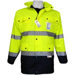 Global GLO-P1 Class 3 Lined Scotchlite Work Wear Jaket - Lime/Black- 5XL
