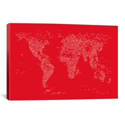 "iCanvasART Michael Thompsett 18""x12"" Font World Map 'Red' Canvas Art Print"