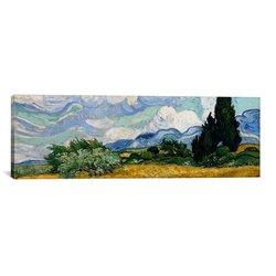 "iCanvasART Vincent Van Gogh 48""x16"" Wheatfield Cypresses Canvas Art Print"