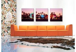"iCanvasART 48""x16"" 3-Pc Night Ocean Drive Miami Beach Canvas Art Print"