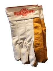 Burly Bear Unisex Double Palm Gloves - Gold/White - Size: Large