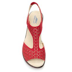 2e880a3729 ... JBU by Jambu Women's Chloe Floral Laser Cut Wedge Sandals - Red - Size:  ...