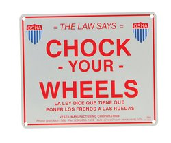 "Vestil SA-1012 Aluminum Enamel Wheel Chock Sign - Size: 11-3/4""W X 9-3/4""H"