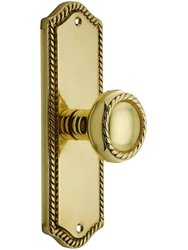Emtek Colonial Rope Design Door Set with Knob -Double Dummy Polished Brass