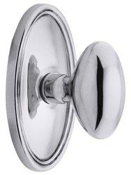 Emtek Oval Rosette Set with Elliptical Knobs -Passage Polished Chrome