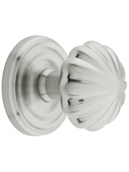 Emtek Classic Rosette Set with Fluted Brass Knobs -Privacy Satin Nickle