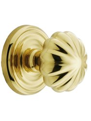 Emtek Classic Rosette Set with Fluted Brass Knobs -Privacy Polished Brass