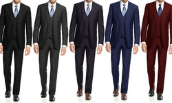 Braveman Slim Fit 3-piece Suit With Free Tie: Black/52lx46w