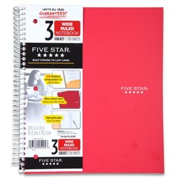 Five Star Wirebound Notebook, 3-Subject, 150 Wide-Ruled Sheets, 10.5 x 8 Inch Sheet Size, Red (72029)