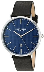 Akribos XXIV Men's Quartz Easy-to-Read Date Leather Strap AKGP935SSBU